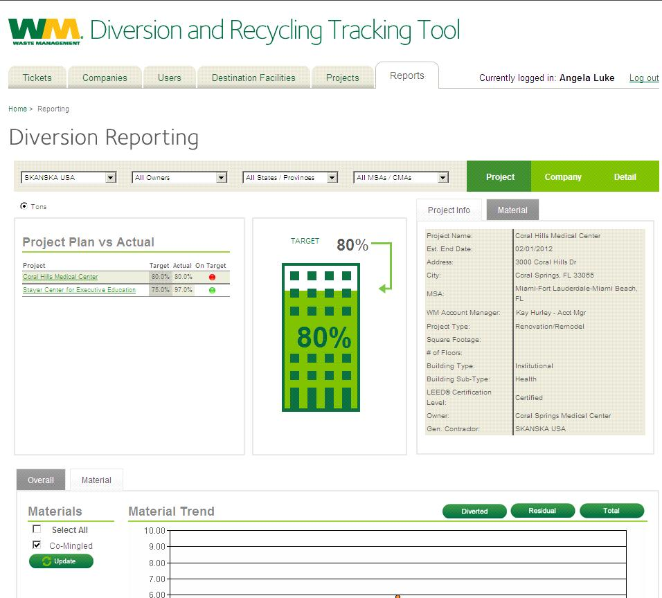 Diversion Recycling Tracking Tool For Enterprise